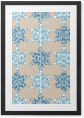 Ingelijste Poster Naadloze achtergrond met sneeuwvlokken. Afdrukken. Herhalende achtergrond. Doek ontwerp, behang.