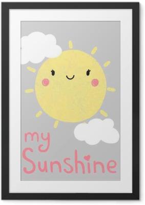 Ingelijste Poster Beeldverhaal zon grafisch, vector, illustratie