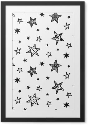 Plakat w ramie Wzór z ręcznie rysowane gwiazd. styl skandynawski