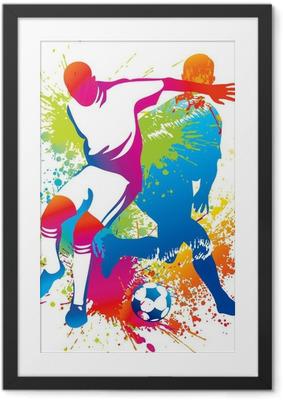 Gerahmtes Poster Fußball-Spieler mit einem Fußball