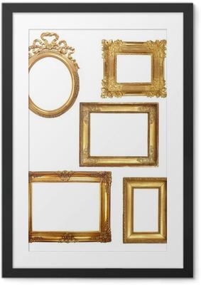 Poster en cadre 5 cadres anciens en bois doré sur fond blanc
