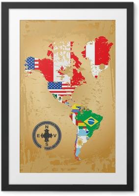 Ingelijste Poster Schets kaarten van de landen in Noord-en Zuid-Amerika