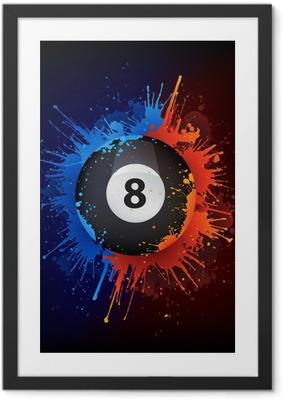 Gerahmtes Poster Sport_Billiard_Fire_Water_Paint_Vector_001 (4). Jpg