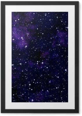 Ingelijste Poster Naadloze textuur van de nachtelijke hemel te simuleren