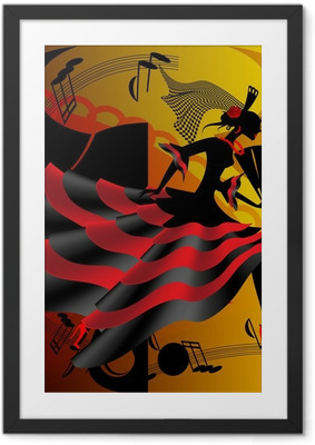 Gerahmtes Poster Spanischer Tanz