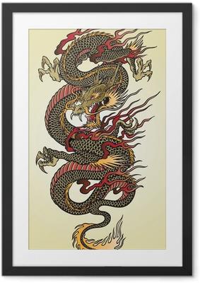 Poster en cadre Illustration détaillée asiatique Dragon Tattoo