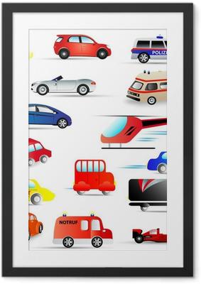 Ingelijste Poster Motorvoertuigen - set
