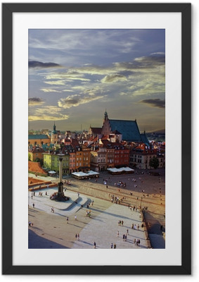 Warsaw castle square and sunset Framed Poster