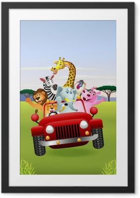 Ingelijste Poster Afrikaanse Dieren in Rode Auto