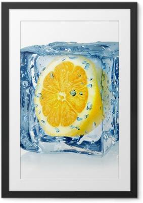 Çerçeveli Poster Buz küpü ve limon