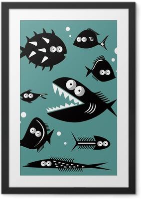 Poster en cadre Ensemble de poissons drôles