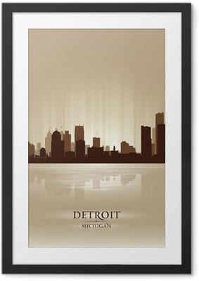 Detroit Michigan city skyline silhouette Framed Poster