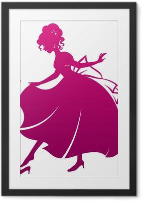 Silhuet af cinderella iført hendes glas tøfler Indrammet plakat