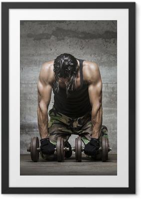 Gerahmtes Poster Muskel müde Sportler