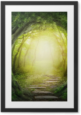 Gerahmtes Poster Road in dunklen Wald