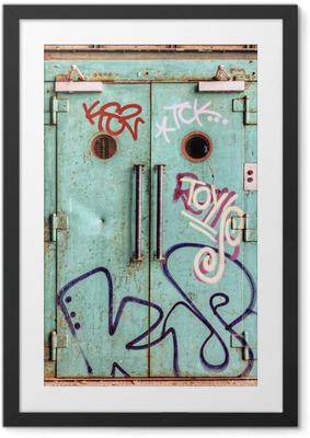 Vandalized lift door in an abandoned factory Framed Poster
