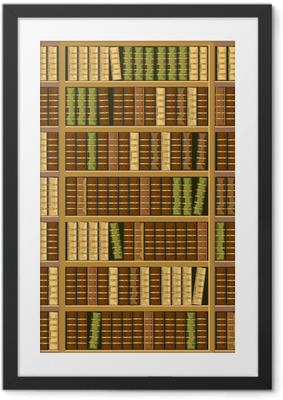 Bookcase full of old books Framed Poster