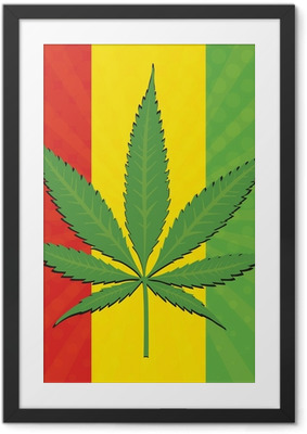 Poster en cadre Vector feuille de cannabis