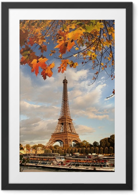 Eiffel Tower with autumn leaves in Paris, France Framed Poster