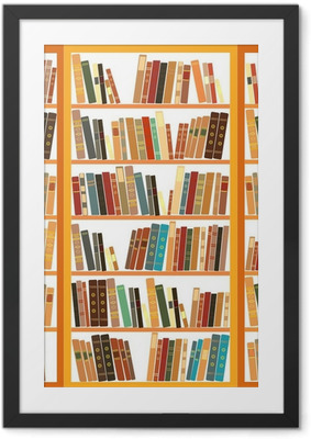 Large bookcase with different books Framed Poster