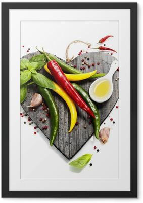 Fresh vegetables on heart shaped cutting board Framed Poster