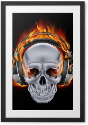 Poster en cadre Flaming crâne dans un casque. - Destin