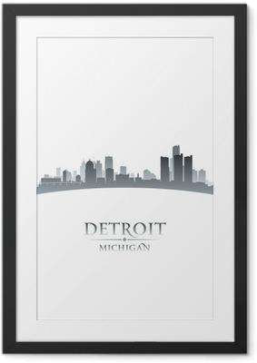 Detroit Michigan city skyline silhouette white background Framed Poster