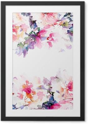 Poster i Ram Blommig vattenfärg bakgrund. Rosor.