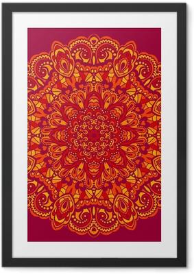 Ingelijste Poster Bloem Mandala. Abstract element voor ontwerp