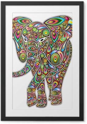 Poster en cadre Elephant psychédélique d'art de bruit sur Blanc