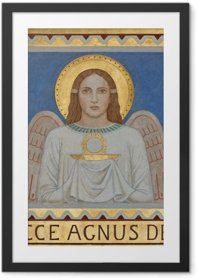 Vienna - Fresco of symbolic angel with the Eucharist Framed Poster