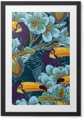 Ingelijste Poster Tropische naadloze parrern met bloemen en Toucan