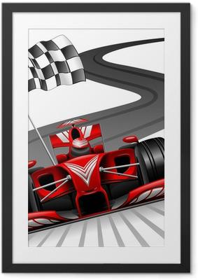 Formula 1 Red Car on Race Track Framed Poster
