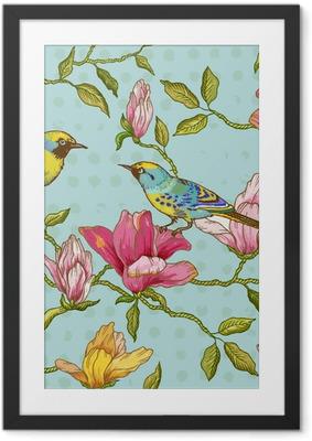 Ingelijste Poster Uitstekende Naadloze Achtergrond - Bloemen en Vogels