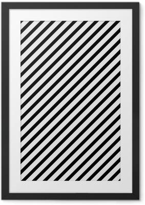 Gerahmtes Poster Schwarzweiss-diagonales gestreiftes Muster wiederholen Hintergrund
