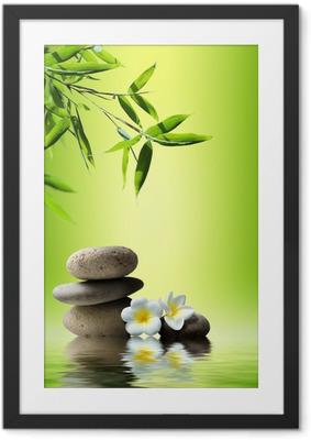 Poster en cadre Spa background avec des bambous et des pierres sur l'eau