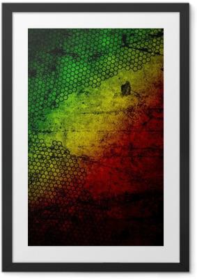 Poster en cadre Rouge, jaune, vert rasta drapeau grunge texture mur de béton
