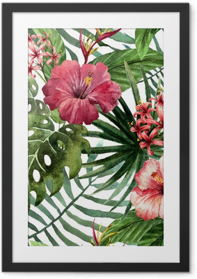 pattern orchid hibiscus leaves watercolor tropics Framed Poster