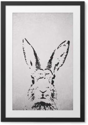 Poster en cadre Silhouette de lapin backround