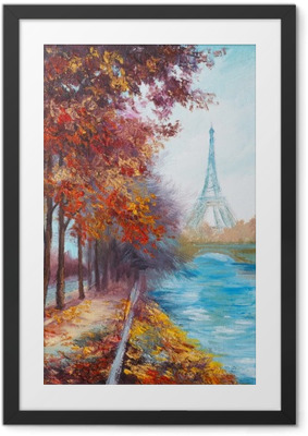 Oil painting of Eiffel Tower, France, autumn landscape Framed Poster