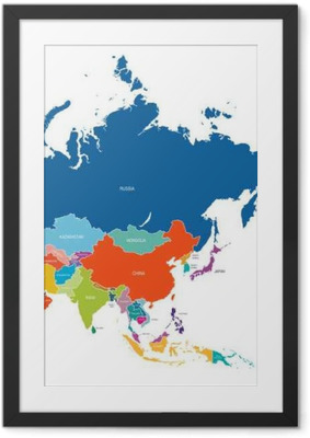 Poster en cadre Asie map