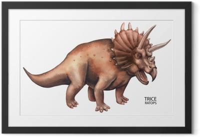 Poster in Cornice Dinosauro acquerello realistico