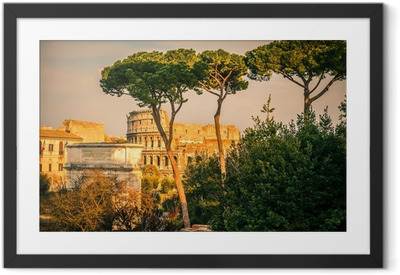 Innrammet plakat Colosseum ved solnedgang