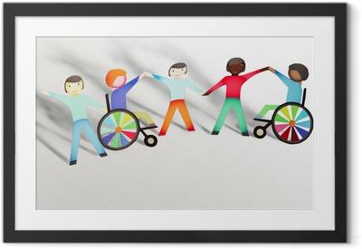 Ingelijste Poster Uitgeschakeld. Familie concept met rolstoel- papieren poppen
