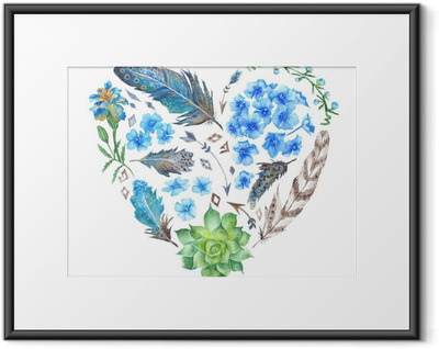 Plakat w ramie Boho Style Watercolor Heart Shape