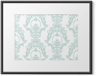 Ingelijste Poster Vector vintage damast patroon ornament keizerlijke stijl. sierlijk bloemenelement voor stof, textiel, ontwerp, trouwkaarten, wenskaarten, behang. opaal blauwe kleur