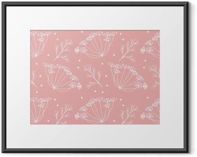 Innrammet plakat Dill eller fennikel blomster og blader mønster.