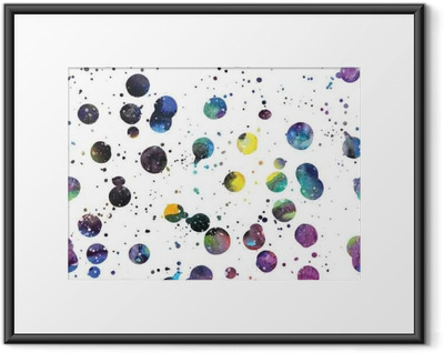 Gerahmtes Poster Aquarell Galaxie Hintergrund.