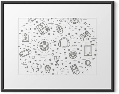 Gerahmtes Poster Videospiele Symbole, einfache und dünne Linie Design