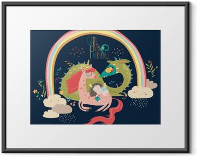 Gerahmtes Poster Niedlicher Comic-Drache, Einhorn und kleine Prinzessin